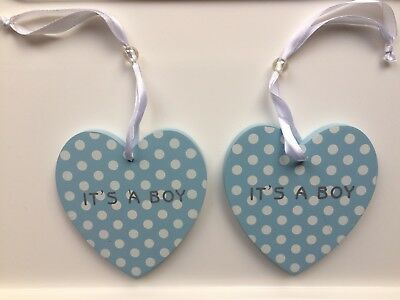 New Baby Boy Wooden Heart Plaque Decoration Wall Hanging Blue & White Spots X2