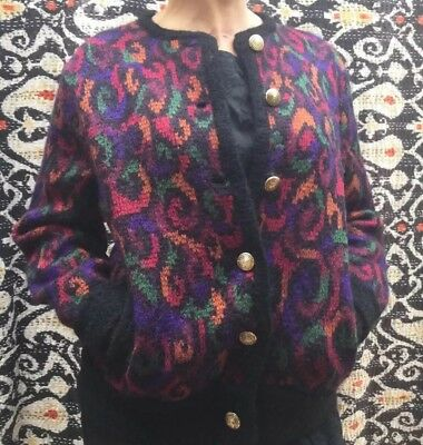 Vintage 90s Country Jersey Mohair wool Cardigan.blogger  Leopard Jumper Sz S