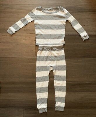 Burt's Bees 24 Month Organic Two Piece Pajamas Gray White Stripes