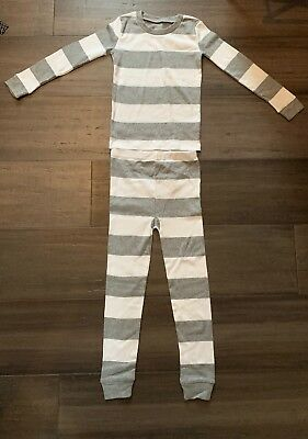 NWOT Burt's Bees 5T Organic Two Piece Pajamas Stripes Gray White