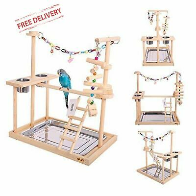 Pet Bird Parrot Play Stand Perch Cockatiel Playground Wood Gym Ladder Exercise