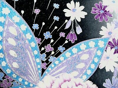 [AYANE] MIDNIGHT FLOWERS BUTTERFLY (Sample) - Japanese Silk KIMONO Fabric