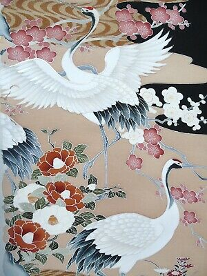 [AYANE] CRANE BIRDS in WOODS Embroidered - Japanese Silk  KIMONO Fabric