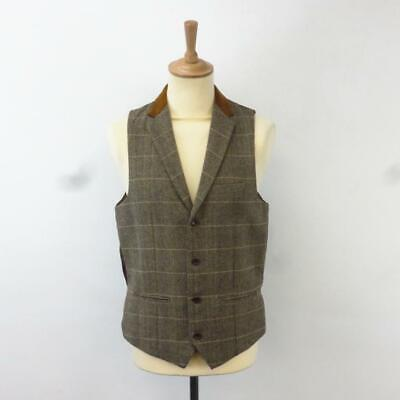 Marc Darcy Mens Tan Tweed Check Collared Waistcoat, 40R, Barely Used [JO DX7]