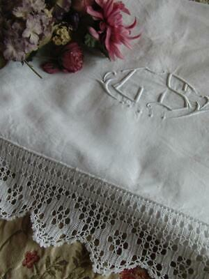 Beautiful Antique French Linen Sheet with Lace Edge and Monogram circa 1930s