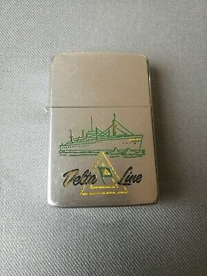 Vintage 1958 Delta Cruise Line Ship Zippo Lighter Rare