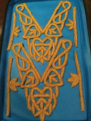 Indian Embellishments Embroidery Appliqué Gold Beaded Adornments Needlework