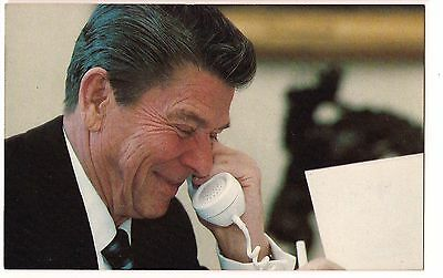 RONALD REAGAN in WHITE HOUSE on TELEPHONE Gramm-Lotta  POSTCARD Unused VINTAGE