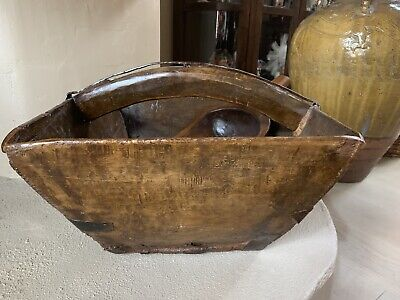 Antique Chinese Rice Harvest Wood Basket With Handle And Scoop