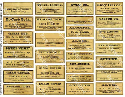 28 Apothecary LABELS, Sticker Sheet, Druggist Labels for Bathroom & Halloween