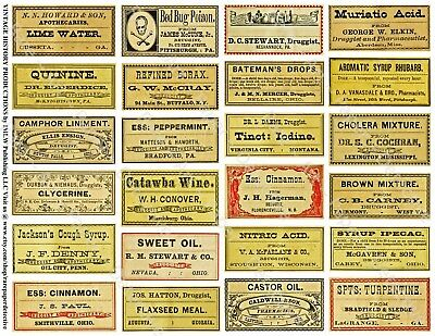 DRUGGIST LABELS, Sticker Sheet, 24 Apothecary & Pharmacy Labels, Bathroom Decor