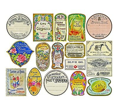 16 DRUGGIST LABELS, Sticker Sheet, Apothecary Labels & Drug Store Pharmacy Decor