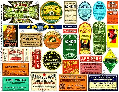 28 PHARMACY LABELS, Sticker Sheet, Apothecary Labels & Drug Store Pharmacy Decor