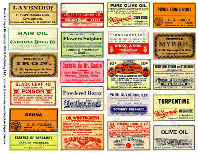 21 DRUGGIST LABELS, Sticker Sheet, Apothecary Labels & Drug Store Pharmacy Decor