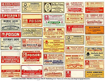 Pharmacy Labels, 1 Sticker Sheet, Antique Apothecary Poison Labels, Drug Store