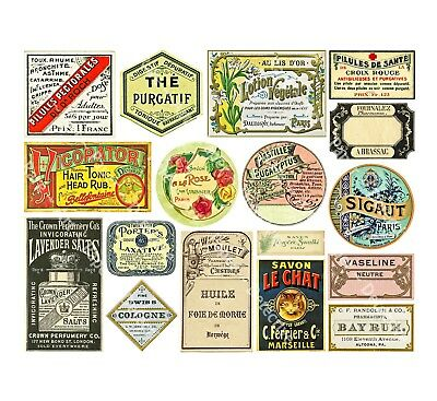 17 DRUGGIST LABELS, Sticker Sheet, Apothecary Labels & Drug Store Pharmacy Decor