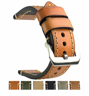 New THICK Genuine Leather Watch Band Longer Strap Pin Buckle Light Brown 24mm