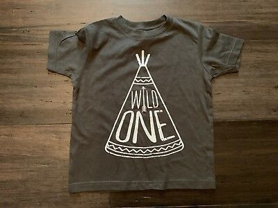 NEW Rabbit Skins Toddler 2T T Shirt Wild One Teepee Gray Screen Print