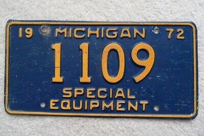 Michigan 1972 Special Equipment License Plate - Look