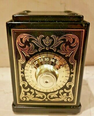 Vintage Old Tin Metal Safe Bank with Combination Dial, Made for AVON in England