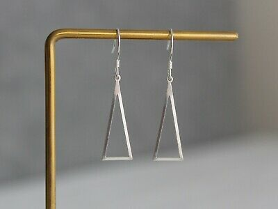 Sterling silver triangle earrings Modern Minimal everyday earring gift for her