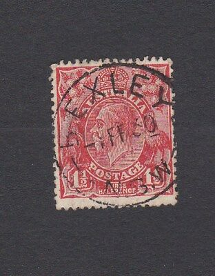 Australia 1927 1&1/2d Red KGV SM wmk Perf 13.5 x 12.5 CDS BEXLEY NSW FEB. 1930