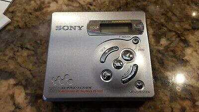 Sony MZ-R501 Silver Recordable MiniDisc Walkman With Sony MDR-027 Headphones
