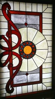"""Vintage Antique Stained Glass window Panel 43"""" X 28 1/4"""" Home Improvement"""