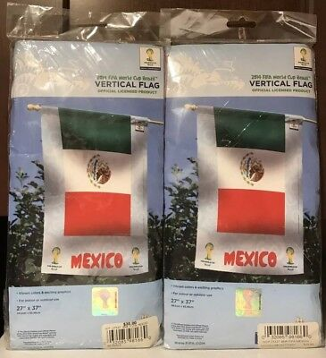 "WinCraft 2014 FIFA World Cup 2 Mexico Vertical Flags New 27""x37"" National Soccer"