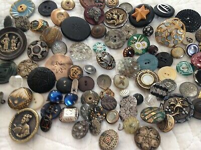 Lot of 100+ Antique and Vintage Mixed Buttons