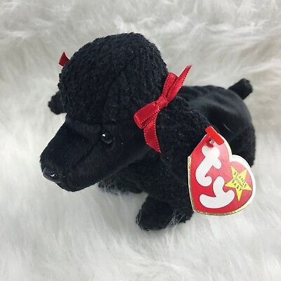 TY BEANIE BABY GIGI Plush Black Poodle with Red Ribbon Original ... 58d81f7123f