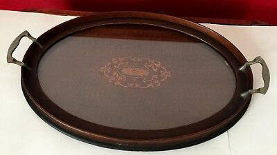 """Antique OVAL 20"""" Federal Revival INLAID Mahogany BUTLER SERVING TRAY w/ Glass"""