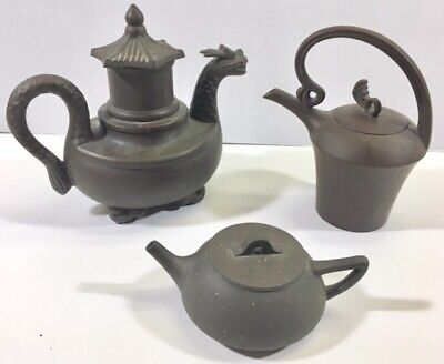 3 Chinese Small Clay Teapots