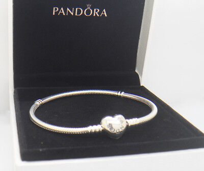 Authentic Pandora 925 Silver Bracelet Heart Clasp 8.3 in 590719-21cm With Box