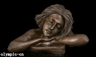 Bronze sculpture grovel think girl head  bust statue marble base