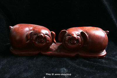 25cm China Natural red Jujube wood hand carved animal pig Statue Sculpture AIQO