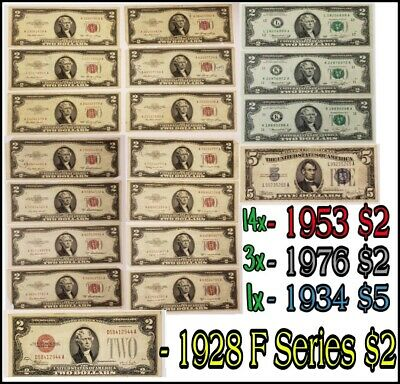 LOT $2 Two Dollar Bill Red Seal 1953 US Legal Tender Note $5 Five Blue Seal 1934