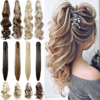 """100% Real Thick Jaw Claw Clip On Ponytail 12-26"""" Long Soft As Human Hair Piece"""