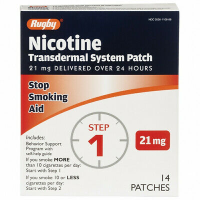 NR!! Rugby Nicotine Patch Transdermal System 21 mg 14 PATCHES Step 1