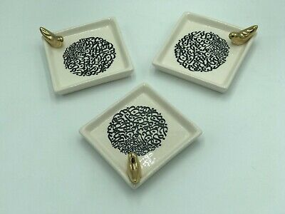 Persian Ceramic Decorative White Square Plate with Calligraphy and golden Bird