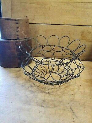 Antique Primitive Vintage Early 1900's Old Twisted Wire Collapsible Egg Basket