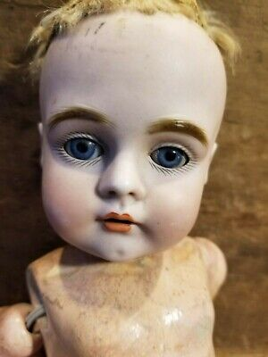 Antique Composition & Bisque Porcelain Doll Germany Glass Eyes Repair Tlc Parts