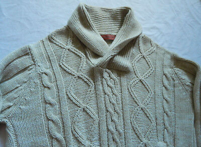 Shawl Collar White Cardigan Sweater - XL Mens Acrylic Buttoned Vtg Ribbed Knit