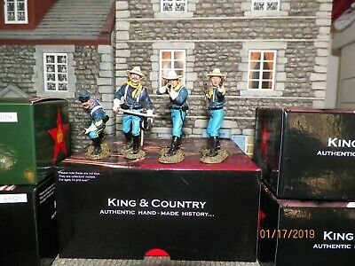 """King & Country John Fords Cavalry"""" Kx019, 28,29,30"""" 4 Figures Nmint In Box"""