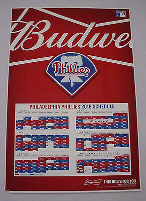 Philadelphia Phillies Baseball 2016 Schedule Poster - Original