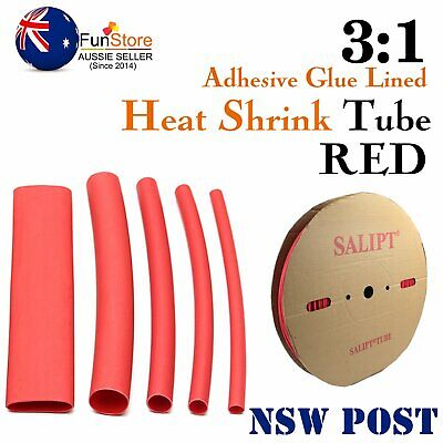 Heat Shrink Tube 3:1 Glue Lined Double Wall Flame Retardant Red Tubing Shrinks