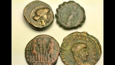 ANCIENT AUTH. 4 Coin$; 1 GREEK 350 BC, CORN-G 1 GREEK 100 BC, 2 ROMAN ca. 307 AD