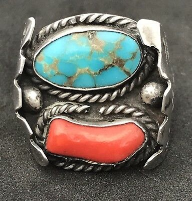 Big Vintage Navajo Native American Sterling Silver Ring Turquoise Coral Size 9
