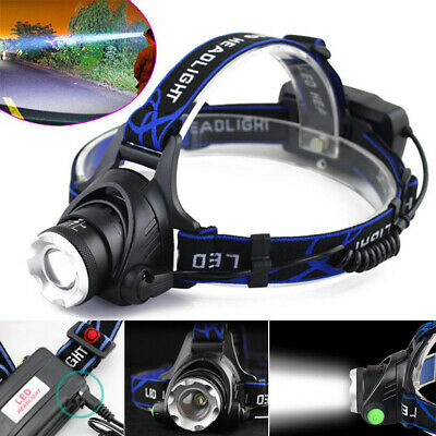 Rechargeable 90000LM T6 LED Headlamp Zoom Headlight Flashlight Head Torch 18650