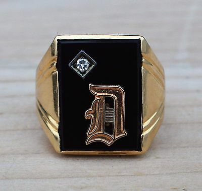 Estate Gents 14K Yellow Gold Diamond & Onyx Letter D Ring-Size 9.75-585 Vintage